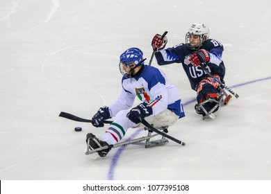 2018 March 15th. Peyongchang 2018 Paralympic games in South Korea. Sled hockey, Italy Vs USA