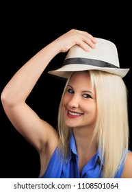 2018 May 20: Travel and technology. Happy young woman poses as a model in a Studio in Moscow, Russia.