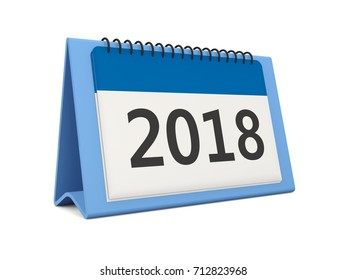 2018 New year calendar icon isolated on white. 3D illustration
