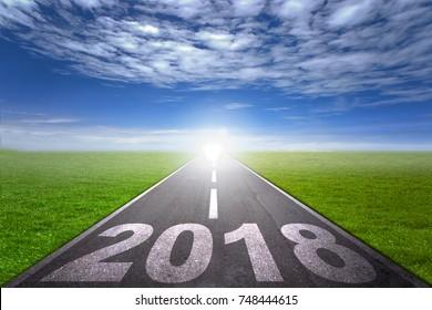 2018 new year concept asphalt road