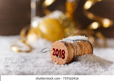 2018 New Year concept with champagne cork
