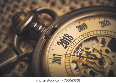 2018 new year concept with vintage pocket watch