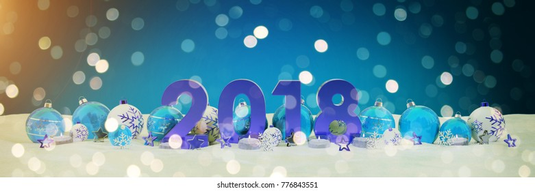 2018 new year eve with blue and white christmas baubles and candles 3D rendering