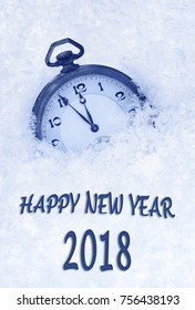 2018 New Year greeting card  in English language, pocket watch in snow, 2018 new year
