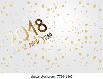2018 New Year grey background with gold glitter confetti splatter texture. Festive premium design template for holiday greeting card, invitation, calendar poster, banner
