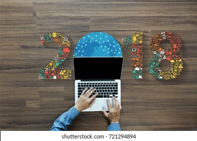 2018 new year innovation technology business application icons set, Digital marketing ideas concept design, With businessman working on laptop computer PC, view from above