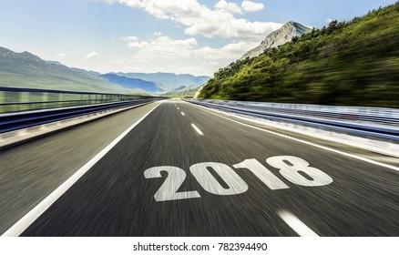 2018 New Year inscription on the asphalt highway.