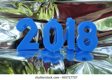 2018 new year. The numbers on the background