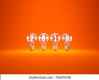 2018 New Year sign inside light bulbs over orange background. 3D illustration