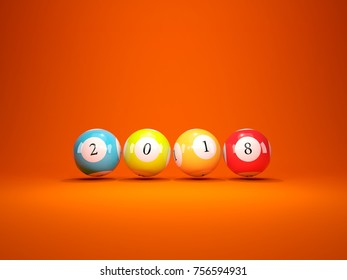2018 New Year sign on lottery balls over orange background. 3D illustration
