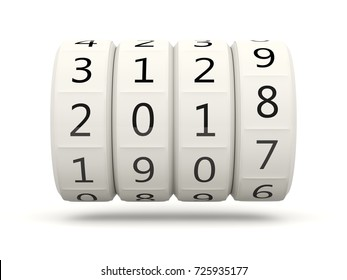 2018 New Year symbol isolated on white. 3D illustration