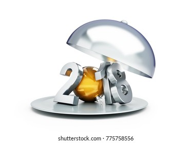 2018 new year tray on a white background 3D illustration, 3D rendering