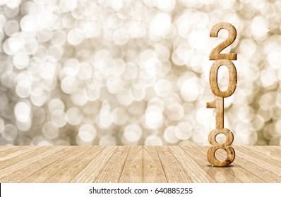 2018 new year wood number in perspective room with sparkling bokeh wall and wooden plank floor