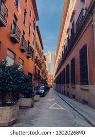 2018 November 3. Madrid, Spain. Beautiful vew of Edificio Espana building from Manzana Street