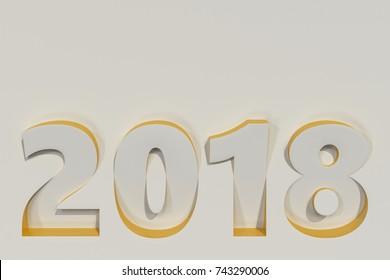 2018 number bas-relief on white surface with yellow sides. 2018 new year sign. 3D rendering illustration