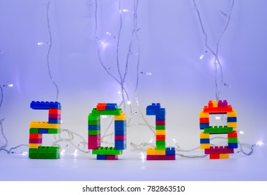 2018 numbers shape made from colorful bricks toy in new year concept