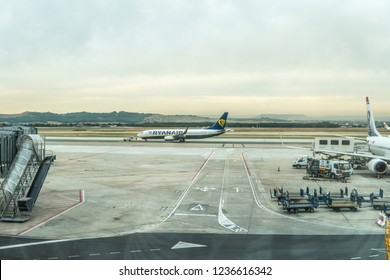 2018 october 26 - Madrid, Spain. Ryanair airplane at the airport