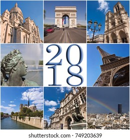 2018 paris travel collage greeting card