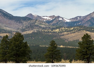 2018 photo of the San Francisco Peaks near Flagstaff, Arizona, still shows burn area from the 2010 Schultz wildfire