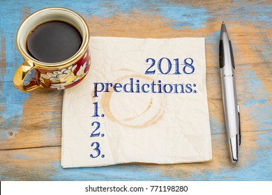 2018 predictions list on a napkin with a cup of coffee