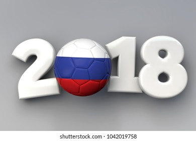 2018 Russia flag football background. 3D Rendering