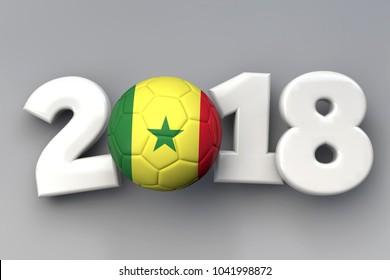 2018 Senegal flag football background. 3D Rendering