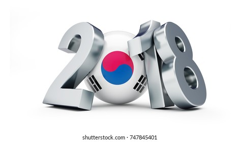 2018 South Korea on a white background 3D illustration, 3D rendering