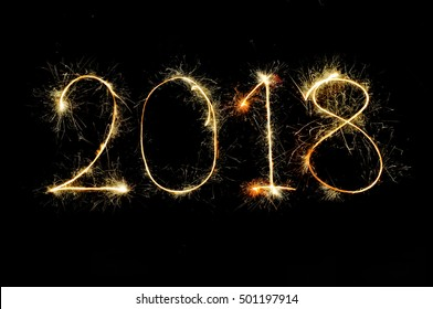 2018 from sparkle on black background
