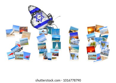 2018 summer holiday season. Numbers made of Israel Mediterranean landscapes photo. Butterfly with symbolic National flag of Israel. Vacation and travel. Isolated on white