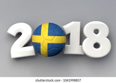 2018 Sweden flag football background. 3D Rendering