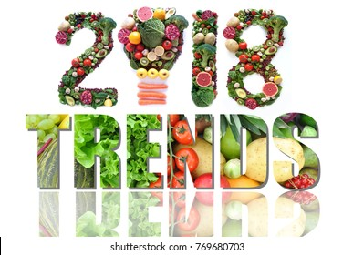 2018 trends made of fruits and vegetables including a light bulb icon