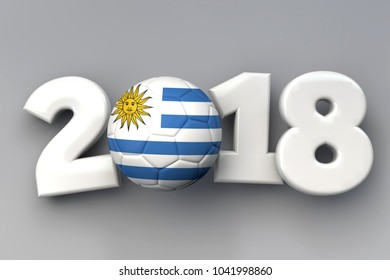 2018 Uruguay flag football background. 3D Rendering