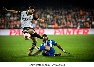 2018 in Valencia, spain, SPAIN - JANUARY 17: Martin Montoya with ball during Spanish King Cup match between Valencia CF and Alaves at Mestalla Stadium on january 17, valencia
