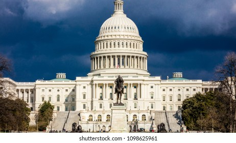 2018 - WASHINGTON D.C. - storm clouds build over US Capitol, Washington D.C.