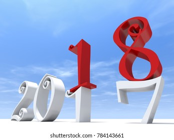 2018 white and red abstract happy new year eve, holiday symbol or number on 2017 text on white snow and sky background. Celebration of time change, season or future metaphor for hope 3d illustration
