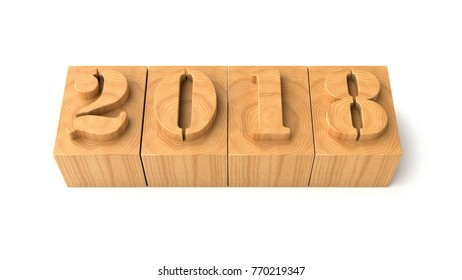 2018 wood typography numbers, 3d illustration