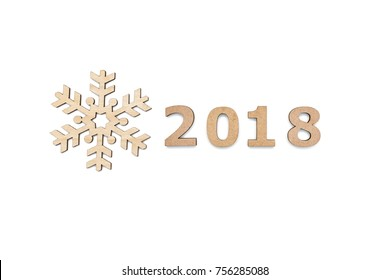 2018 wooden number with decorative wooden snowflake isolated over white background top view