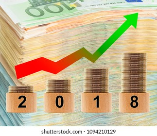 2018 year statistics with money background. concept of business succes