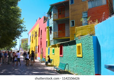 2018-02-03 - El Caminito, Buenos Aires, Argentina:  People enjoing the Colorful buildings along the street of El Caminito located in La Boca in Buenos Aires, Argentina in South America