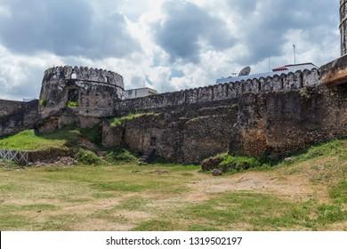 2018.02.24, Stone Town, Zanzibar, Tanzania. Travel around Africa. An old fortress of Stone Town. Sights of Zanzibar.