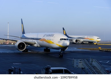 [2018-03-05] JetAirways two Boeing 777-300ER aircrafts taxing at Amsterdam International Airport (AMS), Schiphol, Netherlands