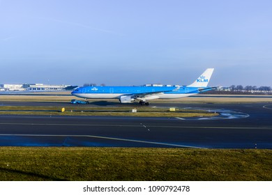 [2018-03-05] KLM PH-AKA aircraft (Airbus A330-303) taxing at Amsterdam International Airport (AMS), Schiphol, Netherlands