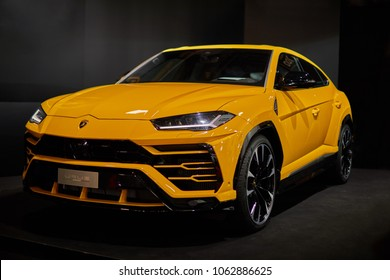2018-04-06, Riga, Latvia. Lamborghini Urus displayed at autoshow. Images for editorial use only