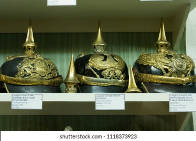 2018-04-15 Belfort France. Old military  German helmets in museum in Belfort France