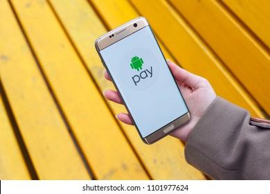 2018.04.23 Kazan, Russia - Android Pay app on Samsung Galaxy S7 Edge phone screen.