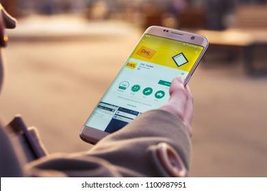 2018.04.23 Kazan, Russia - DHL app on Samsung Galaxy S7 Edge phone screen.