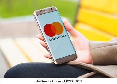 2018.04.23 Kazan Russia - Mastercard payment system logo on Samsung Galaxy S7 Edge phone screen.