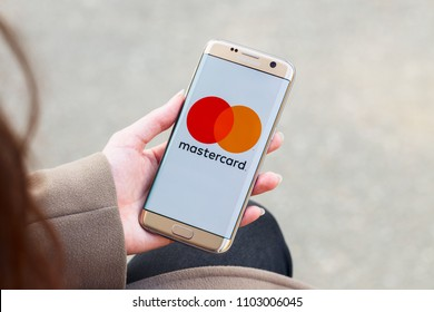 2018.04.23 Kazan Russia - Mastercard payment system logo on Samsung Galaxy S7 Edge phone screen.