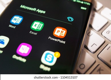 2018.04.23 Kazan, Russia - Microsoft PowerPoint logo on Samsung Galaxy S7 Edge phone screen