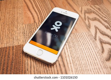 2018.04.23 Kazan Russia - Odnoklassniki social app screenshot on Apple iphone 5 SE screen